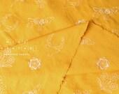 Japanese Fabric Kokka embroidered canvas - mustard yellow - 50cm