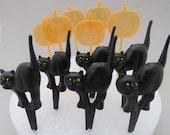 Halloween Cupcake Toppers - Black Cat Cupcake Picks - Pumpkin Cupcake Picks - Cake Decoration - Baking Party Supplies - Cake Toppers
