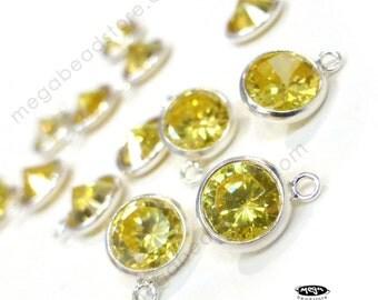 2 pcs November Birthstone Charm 925 Sterling Silver Yellow Topaz CZ Drop F317