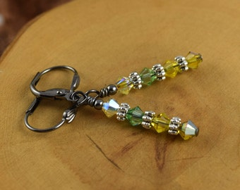 LEMON LIME yellow and green gunmetal leverback Les Petite Cristaux Swarovski crystals handcrafted earrings gorgeous and still affordable