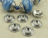 6 Large Rustic Dome Disk Bead Caps > Spiral Tribal Industrial Steampunk - Silver Tone American Made Lead Free Pewter I ship internationally