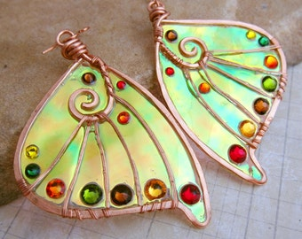 Sihaya Designs Faery Wing Earrings - The Seelie Court in Autumn Hues - Iridescent Fairy Wing Jewelry