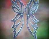 Tinkerbell Earrings, Sterling Silver, 18K Wing Earrings