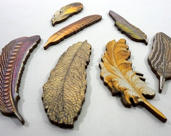 Feathers - Collection of 7 Wooden Feathers
