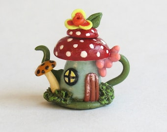 Handmade Miniature Fairy Toadstool House Teapot by C. Rohal
