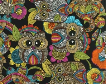 Robert Kaufman OWL'S NEST Bright cotton fabric by the 1/2 yard