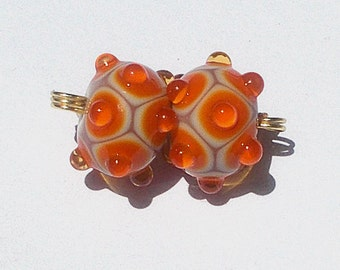 Made To Order Lampwork Bead Pair Orange On Tan By Cheryl's Art