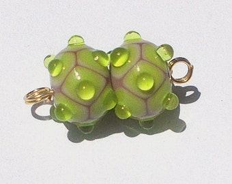 Made To Order Lampwork Bead Pair Lime Green By Cheryl's Art