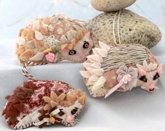 Hedgehog Quilty Critter Fragrant Sachets -  OOAK, Folk Art, Novelty