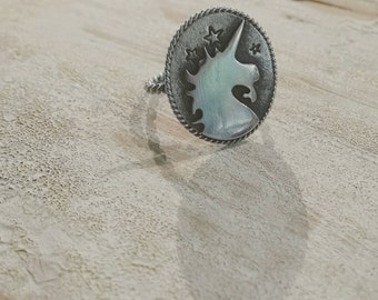 Sterling Silver Handcrafted Unicorn Statement Ring - Hand Fabricated
