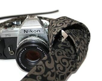 Handmade Reversible Camera Strap for  - SLR, DSLR  Olive Khaki and Black Damask with black lining