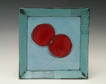 Square Ceramic Plate with Red Blooms