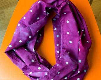 Wasabi Peas Hand Dyed and Patterned Infinity Scarf in Pale Blue and Raspberry