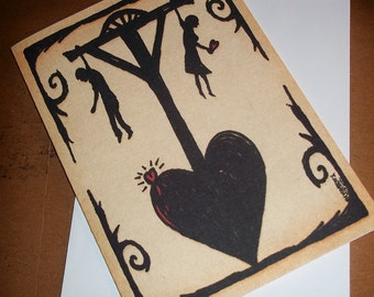Star-Crossed Lovers Valentine's Day Card Gothic Romanance  5x7 Greeting Card Blank inside by Agorables Undead Love