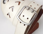 Cream Leather Guitar Strap with Gunmetal Accents, Eco Friendly, Recycled Belts, Unique, OOAK