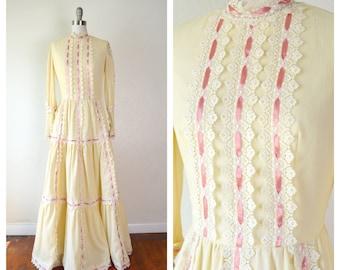boho beige wedding dress /pink ribbon lace long peasant dress/ small
