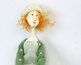 OOAK collectible paperclay handmade art girl doll