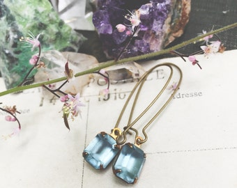 S k y e...Swarovski Sapphire Blue octagon Glass Stone, antiqued raw brass, dainty, minimalist earrings FREE SHIPPING
