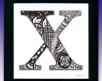 Framed 'X' Monogram Print