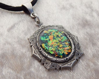 Fire Opal Iced Enamels and Resin Pendant