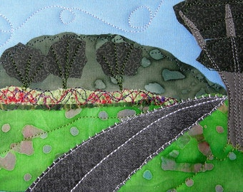 Fabric Postcard Quilted Postcard Landscape Fiber Art Mountains Greeting Card Wall Decor Nature