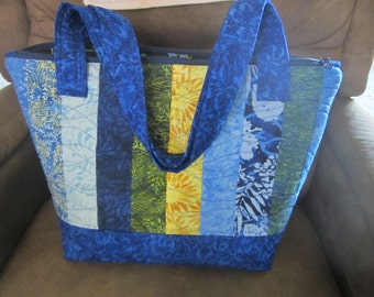 Sky's The Limit Blue and Yellow Batik Tote Bag