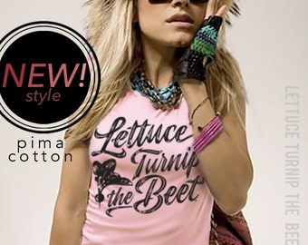 2 COLORS - lettuce turnip the beet ® trademark brand OFFICIAL SITE - pale pink or dark brown pima cotton juniors shirt with new logo