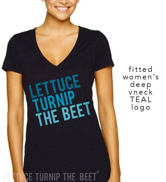 lettuce turnip the beet ® trademark brand OFFICIAL SITE - black women's deep vneck with teal logo