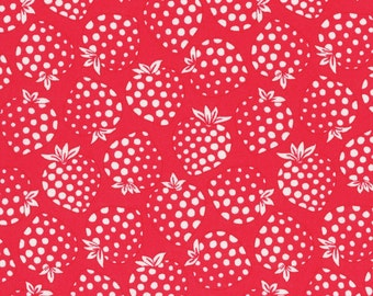 FAT QUARTER Lecien - Cream Strawberries on RED - Old New 30s Collection Spring 2016 - Ivory White - Japanese