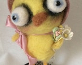 Yellow chick needle felted art doll