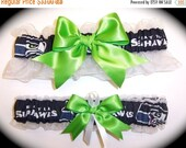 SALE 10% OFF Handmade Wedding Garter Set with Seattle Seahawks theme Keepsake and Toss Bridal agw1
