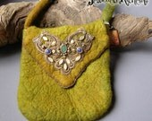 Green Felted Bag with Lapis Lazuli Swarovski Crystals and Jade