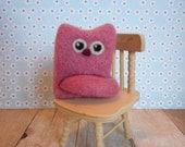 Cat, Needle Felted, Wool, Handmade, Dusty Rose, Pink, Riki, Kitty