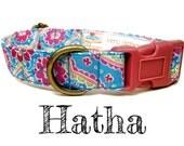 """Light Blue Vintage Bohemian Dog Collar - Floral Dog Collar - Middle Eastern Dog Collar - Antique Brass Hardware - """"Hatha"""""""