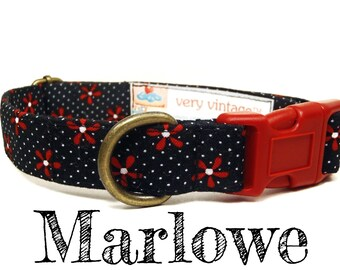 "Black Dog Collar - Floral Dog Collar - Vintage Dog Collar - Retro Dog Collar - Antique Brass Hardware - ""The Marlowe"""
