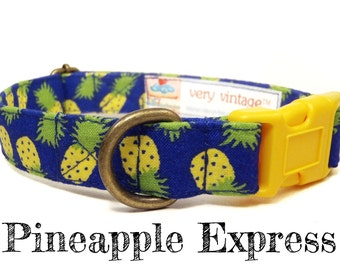 "Tropical Dog Collar - Pineapple Dog Collar - Summer Dog Collar - Fruit Dog Collar - Antique Brass Hardware - ""Pineapple Express"""