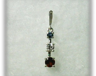 London Blue Topaz White Cubic Zirconia and Red Garnet Gemstones in 925 Sterling Silver Three Stone Pendant Necklace