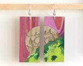"""Agaricales, Paper & Wood Earrings, 1x2.25"""""""