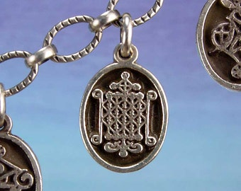 PETITE MEDAL - VOODOO - Ogoun Veve Charm Pendant in Sterling Silver, Bronze, 14K Gold