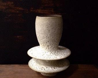 MADE TO ORDER- 1  large flanged stoneware crater vase by sara paloma. white modern ceramic pottery bud vases white ceramics tabletop