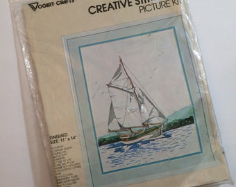 Vintage Needlework Kit  - Sail Boat Embroidery Kit by Vogart Crafts