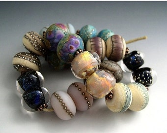 SALE Naos Glass - One of Each Set Two Bead Pairs Mega Set 24 beads - Made To Order Artisan Glass Beads Handmade Lampwork Beads SRA
