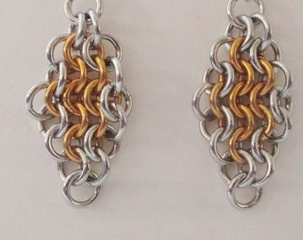 Silver and Gold Diamond Dangle Chainmaille Earrings Handmade