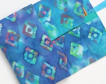 circular knitting needle case - double pointed knitting needle case - organizer -colorful batak