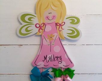 Fairy Princess Bow Holder, Hand Painted Personalization,