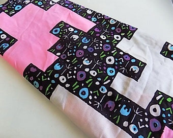 Vintage Polyester Floral Fabric with Mod Pattern Pink Black and White over 3 yards
