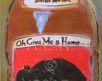 Buffalo Art - Buffalo Extra Stout Beer Print -  Plak Mounted Buffalo Print -  Buffalo Art Work - Buffalo NY - Buffalove - Gift for Him