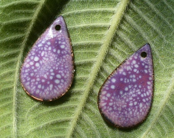 Enameled Copper Teardrop Earring Pair Component by Catalinaglass