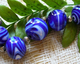 Handmade Lampwork Glass Beads by Catalinaglass SRA  Cobalt and White