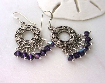 Purple Crystal Earrings, Purple Chandelier Earrings, Purple Velvet Swarovski Crystal Dangles, Sterling Earrings, Bohemian Earrings, Elodie